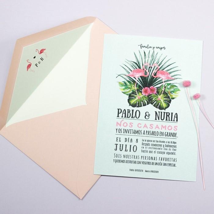 Foto de Invitación de boda PINK BIRD